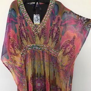 Women's Watercolor butterfly plus size Caftan